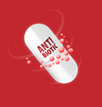 capsule with content antibiotic or probiotic vector image vector image