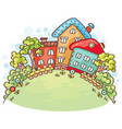 cartoon houses and trees on a hill vector image