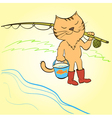 Cat goes fishing with a fishing rod and a bucket vector image