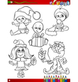children at christmas coloring page vector image