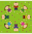 children relax on meadow vector image vector image