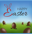 chocolate egg 3d happy easter text running brown vector image vector image