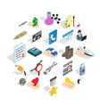 city system icons set isometric style vector image vector image