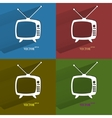 Color set Retro tv Flat modern web button with vector image