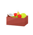 colorful fruit in wooden large rectangular box vector image