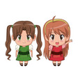 colorful full body couple cute anime girl facial vector image