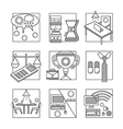 Coworking black line icons set vector image