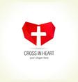 cross in heart logo vector image vector image
