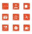 data point icons set grunge style vector image