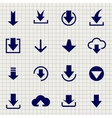 Downloading icon set on notebook page vector image vector image