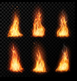 fire campfire isolated torch flame set vector image vector image