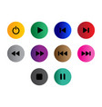 flat black button icon set vector image vector image
