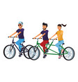 friends riding bicicle vector image vector image