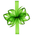 green transparent bow and ribbon on background vector image vector image