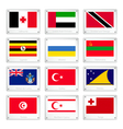 Group of Countries Flags on Metal Texture Plates vector image