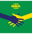 Hand shake icon using Brazil flag colors vector image vector image