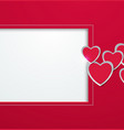 hearts cut from paper with square frame greeting vector image