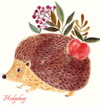 hedgehog in watercolor technique vector image vector image