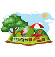 isolated picnic scene on white background vector image vector image