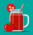 jar with tomato smoothie with striped straw vector image