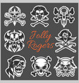 jolly roger symbols - set on dark vector image vector image