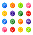 line web icon set on colorful hexagon vector image vector image