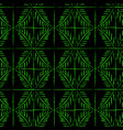 linocut green palm twig seamless pattern vector image
