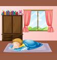 little boy sleeping on carpet vector image vector image