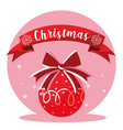 merry christmas ball hanging with ribbon vector image