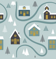 modern seamless childish pattern with cute houses vector image vector image