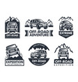 monochrome labels set with suv cars vector image vector image