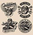 motorcycle vintage designs set vector image vector image