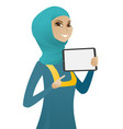 muslim business woman holding tablet computer vector image vector image