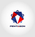 pentagon military logo design symbol vector image