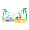 people characters gathering garbage plastic waste vector image