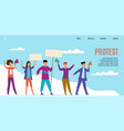 protest landing page protesting activists vector image vector image