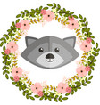 raccoon and floral wreath vector image