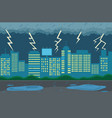 rainy weather in city at night dark clouds vector image vector image