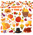 set cartoon autumn elements vector image