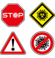 set roadsigns with corona virus symbol vector image