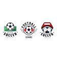soccer football league logo set sports team vector image vector image