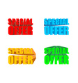Special offer Set of colored special offer for vector image vector image
