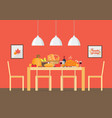 thanksgiving day invitation with interior dining vector image vector image