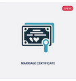 two color marriage certificate icon from security vector image