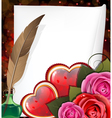 Valentine hearts roses and sheet of paper vector image