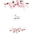 watercolor card with flowers on a white background vector image vector image