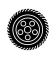 wheel car icon black sign on vector image vector image