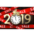 wooden sale 2019 background with gold clock and vector image vector image