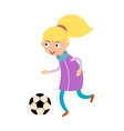 Young child girl playing football vector image vector image