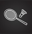 badminton thin line on black background vector image